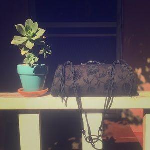 VINTAGE black velvety purse.